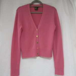 """Theory L Cashmere Cropped Rose Fall Cardigan 36"""" B"""